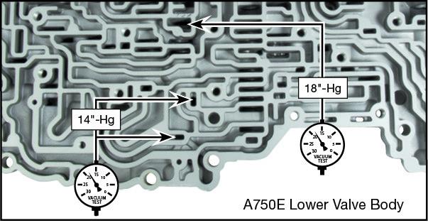 A750E, A750F, A760E, A760F, A760H, A761E, A960E, A960F, AB60E, AB60F Accumulator Control Plunger Valve Kit Vacuum Test Locations