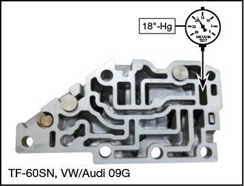 09G, 09K, 09M, 6F21WA, TF-60SN, TF-80SC, TF-81SC Lockup Clutch Control Plunger Valve Kit Vacuum Test Locations