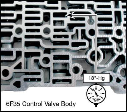 6F35 (Gen. 1), 6F35 (Gen. 2) Oversized TCC Regulator Valve Kit Vacuum Test Locations