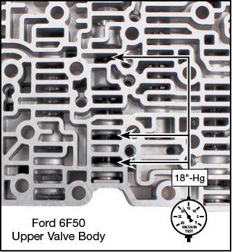 6F50, 6F55, 6T70 (Gen. 1), 6T70 (Gen. 2), 6T75 (Gen. 1), 6T75 (Gen. 2), 6T80 (Gen. 2) Oversized TCC Regulator Valve Kit Vacuum Test Locations