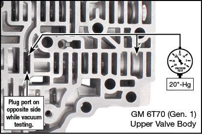 6F50, 6F55, 6T70 (Gen. 1), 6T75 (Gen. 1) Oversized 3-5-R Clutch Regulator Valve Kit Vacuum Test Locations