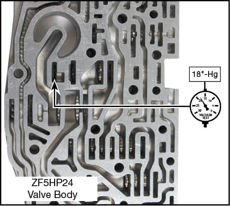 ZF5HP24, ZF5HP24A Oversized Lubrication Valve Kit Vacuum Test Locations