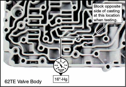 40TE, 40TES, 41AE, 41TE, 41TES, 42LE, 42RLE, 62TE Oversized TCC Regulator Valve Kit Vacuum Test Locations