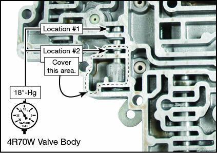 4R70E, 4R70W, 4R75E, 4R75W, AODE Oversized Solenoid Regulator Valve Kit Vacuum Test Locations