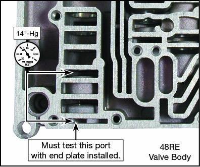 48RE Line Pressure Plug & Sleeve Kit Vacuum Test Locations