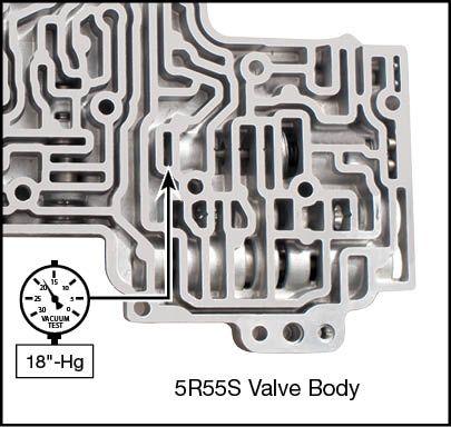 5R55S, 5R55W Pressure Regulator Valve Vacuum Test Locations