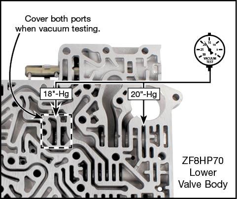 845RE, ZF8HP45, ZF8HP55, ZF8HP70 Oversized Pressure Regulator Valve Kit Vacuum Test Locations