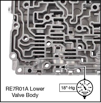 JR710E, JR711E, JR712E, RE7R01A TCC Control Plunger Valve Kit Vacuum Test Locations