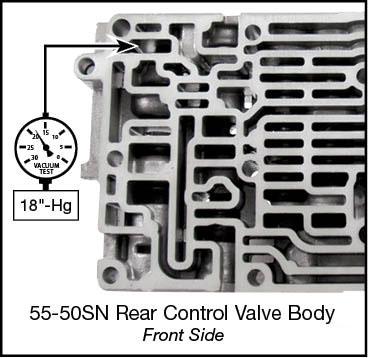55-50SN, 55-51SN Oversized Lockup Relay Valve Kit Vacuum Test Locations