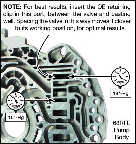 45RFE, 545RFE, 65RFE, 66RFE, 68RFE Oversized Pressure Regulator Valve Kit Vacuum Test Locations