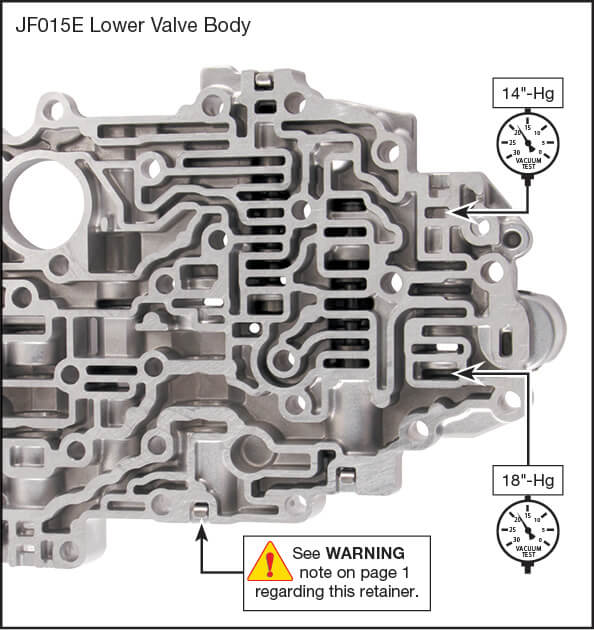 JF015E (RE0F11A) Oversized Primary Pulley Regulator Valve Kit Vacuum Test Locations