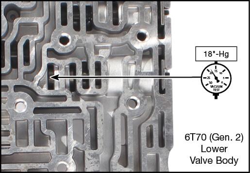 6T70 (Gen. 2), 6T75 (Gen. 2), 6T80 (Gen. 2) Oversized Actuator Feed Limit Valve Kit Vacuum Test Locations