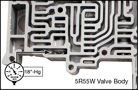 5R55S, 5R55W Oversized TCC Modulator Plunger Valve Kit Vacuum Test Locations