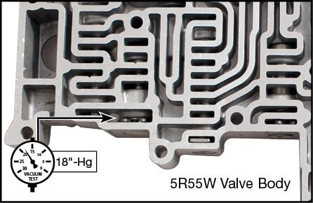 5R55S, 5R55W Oversized TCC Modulator Plunger Valve Kit Vacuum Test Locations