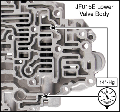 JF015E (RE0F11A) Oversized Lockup Control & Plunger Valve Kit Vacuum Test Locations