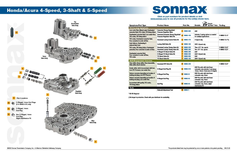Honda/Acura 4/5 Speed Valve Body Layout