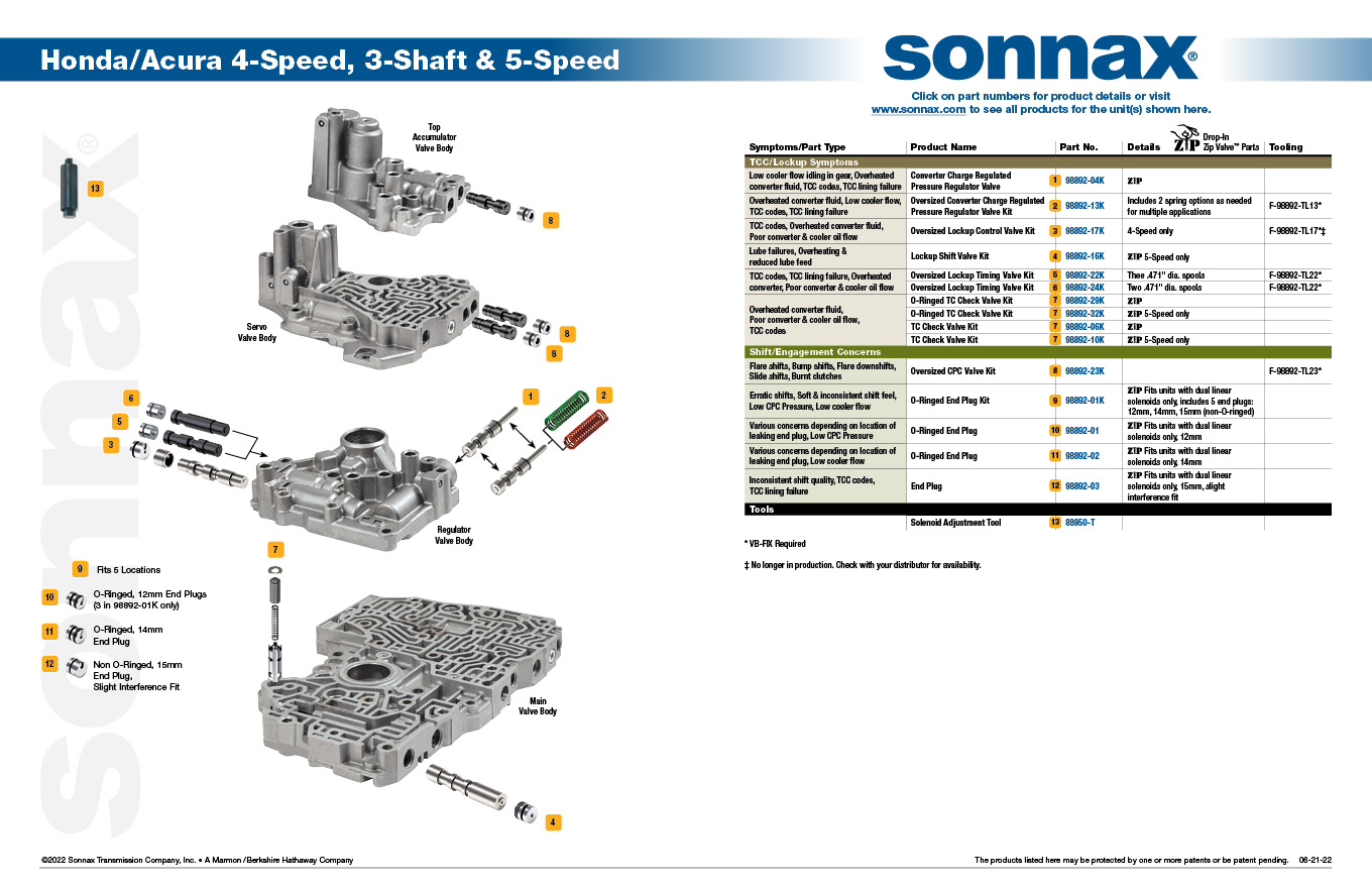 Honda/Acura 4/5 Speed Transmission Valve Body Diagram