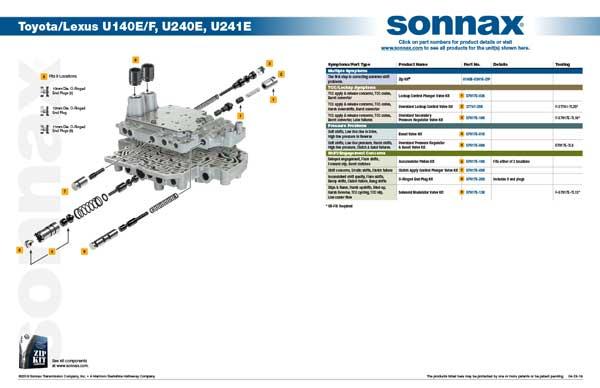 Toyota/Lexus U140E/F, U240E, U241E Transmission Valve Body Diagram